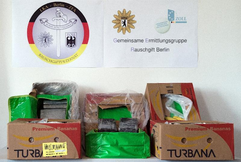 Boxes for the transport of bananas used for drug smuggling at the State Office of Criminal Investigation in Berlin on May 4, 2015