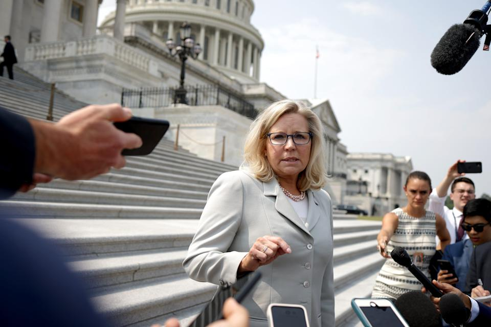 U.S. Rep. Liz Cheney speaks to reporters outside of the U.S. Capitol on July 21, 2021.
