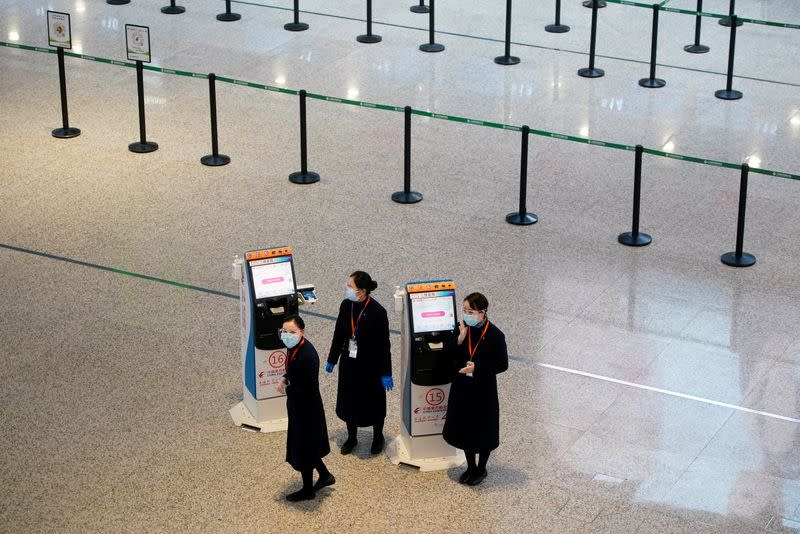 Travel season ahead of the Chinese Lunar New Year, at an airport in Shanghai