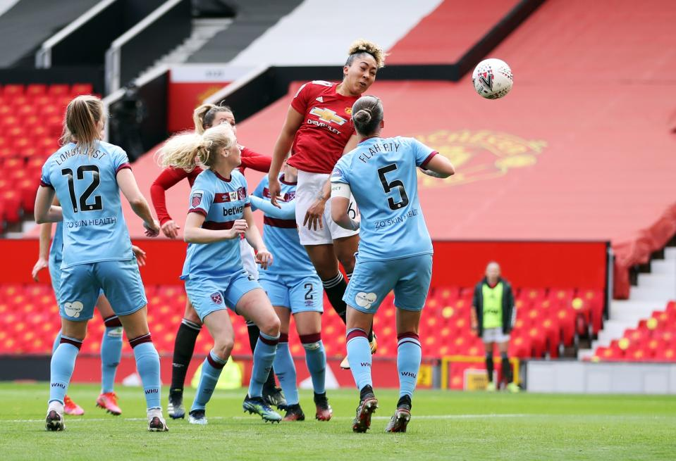 Teenager Lauren James scored Manchester United's opening goal in their 2-0 win over West Ham, in one of six weekend WSL games © Action Images via Reuters