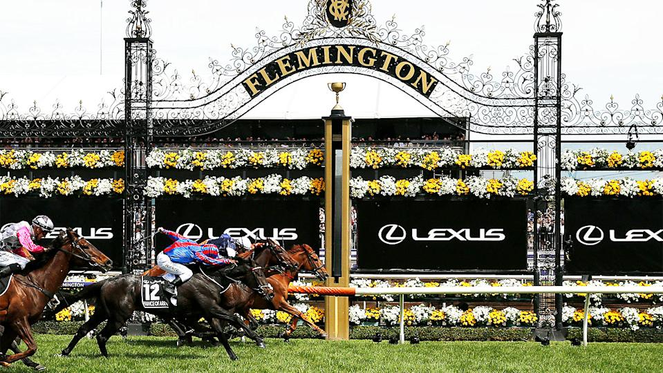 Craig Williams rides Vow and Declare to win race 7 the Lexus Melbourne Cup during 2019 Melbourne Cup Day.