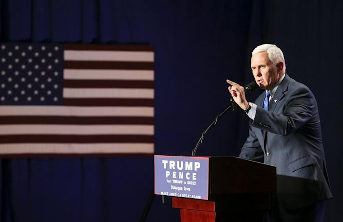 Pence speaks during a campaign rally at Giese Manufacturing Co. in Dubuque, Iowa, on Sept. 19, 2016. (Photo: Nicki Kohl/Telegraph Herald via AP)
