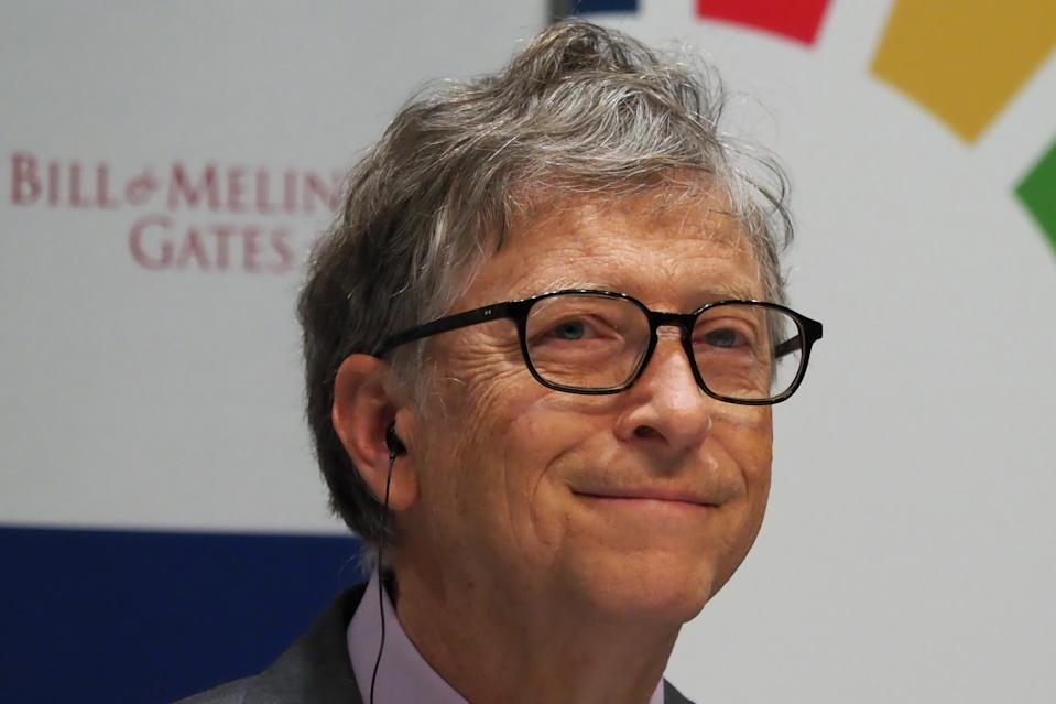 """Bill Gates, co-chair of the Bill & Melinda Gates Foundation, attends a press conference announcing the programme for partnership for the """"Our Global Goals"""" project in Tokyo on November 9, 2018. - The Japan Sports Agency and the Bill & Melinda Gates Foundation announced a new partnership to utilise the momentum of the Tokyo 2020 Olympic and Paralympic Games to increase awareness of the UN's Sustainable Development Goals (SDGs). (Photo by Toshifumi KITAMURA / AFP)        (Photo credit should read TOSHIFUMI KITAMURA/AFP via Getty Images)"""