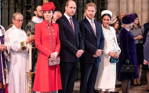 e Duke and duchess of Cambridge stand with the duke and Duchess of Sussex at Westminster Abbey for a Commonwealth day service - Credit: Richard Pohle