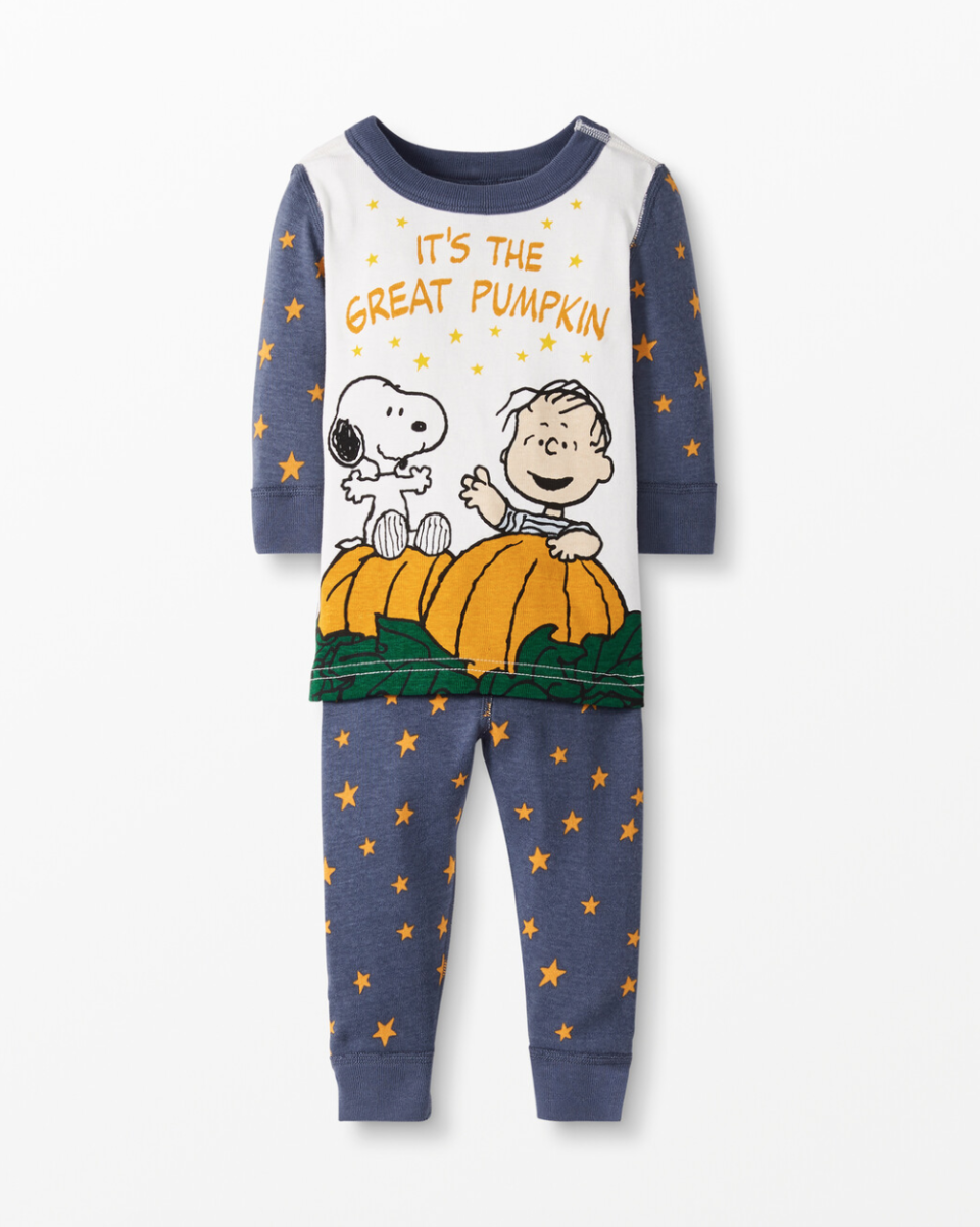 Peanuts Long John Pajamas In Organic Cotton. Image via Hanna Andersson.
