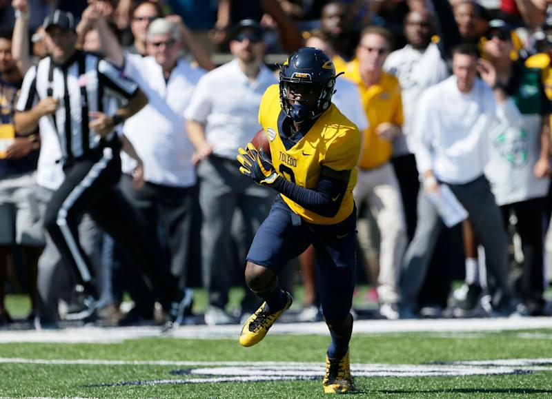 Toledo wide receiver Diontae Johnson (3) was drafted by the Steelers in the third round. (AP)