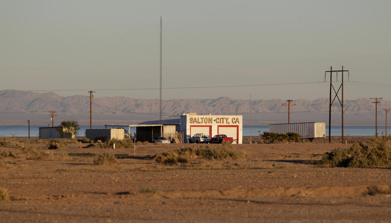 In this Dec. 27, 2010 photo, a public building stands on the rugged terrain in Salton City, Calif., a town on the Salton Sea. Water conservation efforts are being made in hopes of restoring the evaporating inland sea that was once considered a developing center for tourism.
