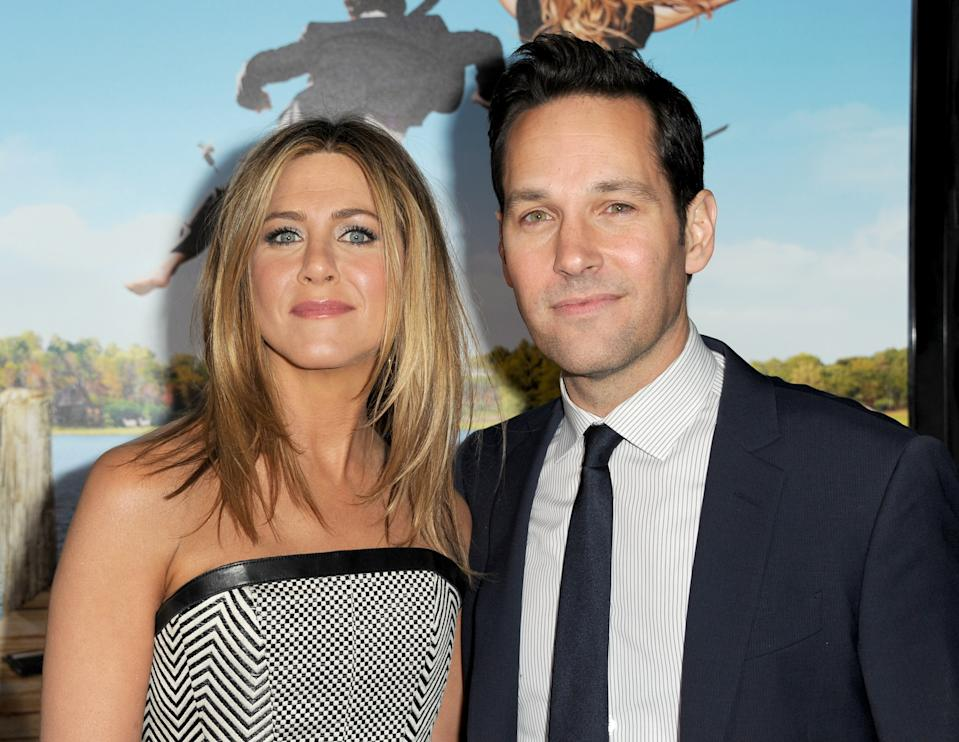 """WESTWOOD, CA - FEBRUARY 16:  Actors Jennifer Aniston (L) and Paul Rudd arrive at the premiere of Universal Pictures' """"Wanderlust"""" held at Mann Village Theatre on February 16, 2012 in Westwood, California.  (Photo by Kevin Winter/Getty Images)"""