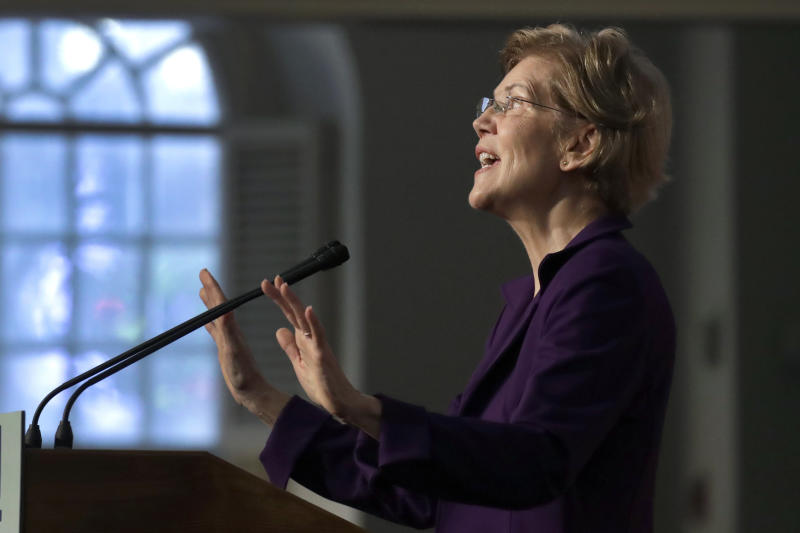 Democratic presidential candidate Sen. Elizabeth Warren, D-Mass., speaks during a campaign event at the Old South Meeting House, Friday, Dec. 31, 2019, in Boston. (AP Photo/Elise Amendola)