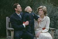 <p>A family photo of Charles, Diana, and a toddling Prince William in the grounds of Kensington Palace.</p>