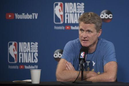 May 30, 2018; Oakland, CA, USA; Golden State Warriors head coach Steve Kerr addresses the media in a press conference during NBA Finals media day at Oracle Arena. Mandatory Credit: Kyle Terada-USA TODAY Sports