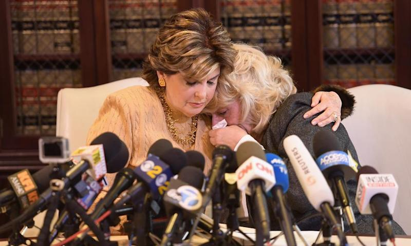 Attorney Gloria Allred comforts her client, Heather Kerr, during a press conference regarding the sexual assault allegations that have been brought against Harvey Weinstein in Hollywood on 20 October 2017