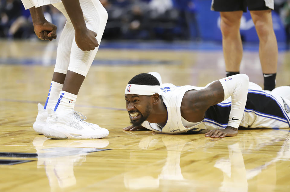 Orlando Magic forward Terrence Ross reacts after being fouled during the second half of a preseason NBA basketball game against the San Antonio Spurs, Sunday, Oct. 10, 2021, in Orlando, Fla. (AP Photo/Jacob M. Langston)