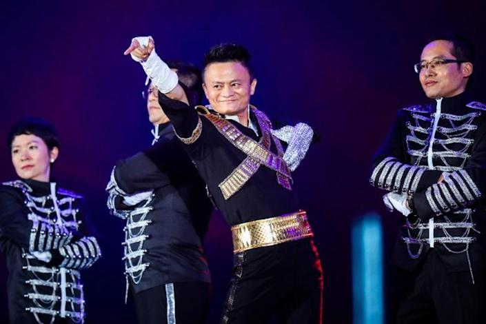 Jack Ma is a former English teacher whose often playful image shattered the stereotype of the drab Chinese executive (AFP Photo/STR)