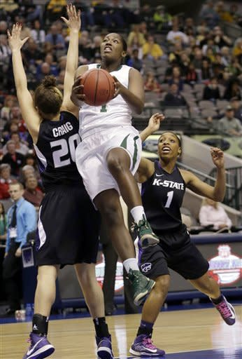 Baylor's Kimetria Hayden (1) shoots against Kansas State's Bri Craig (20) and Haley Texada during the first half of an NCAA college basketball game in the Big 12 Conference tournament Saturday March 9, 2013, in Dallas. (AP Photo/LM Otero)