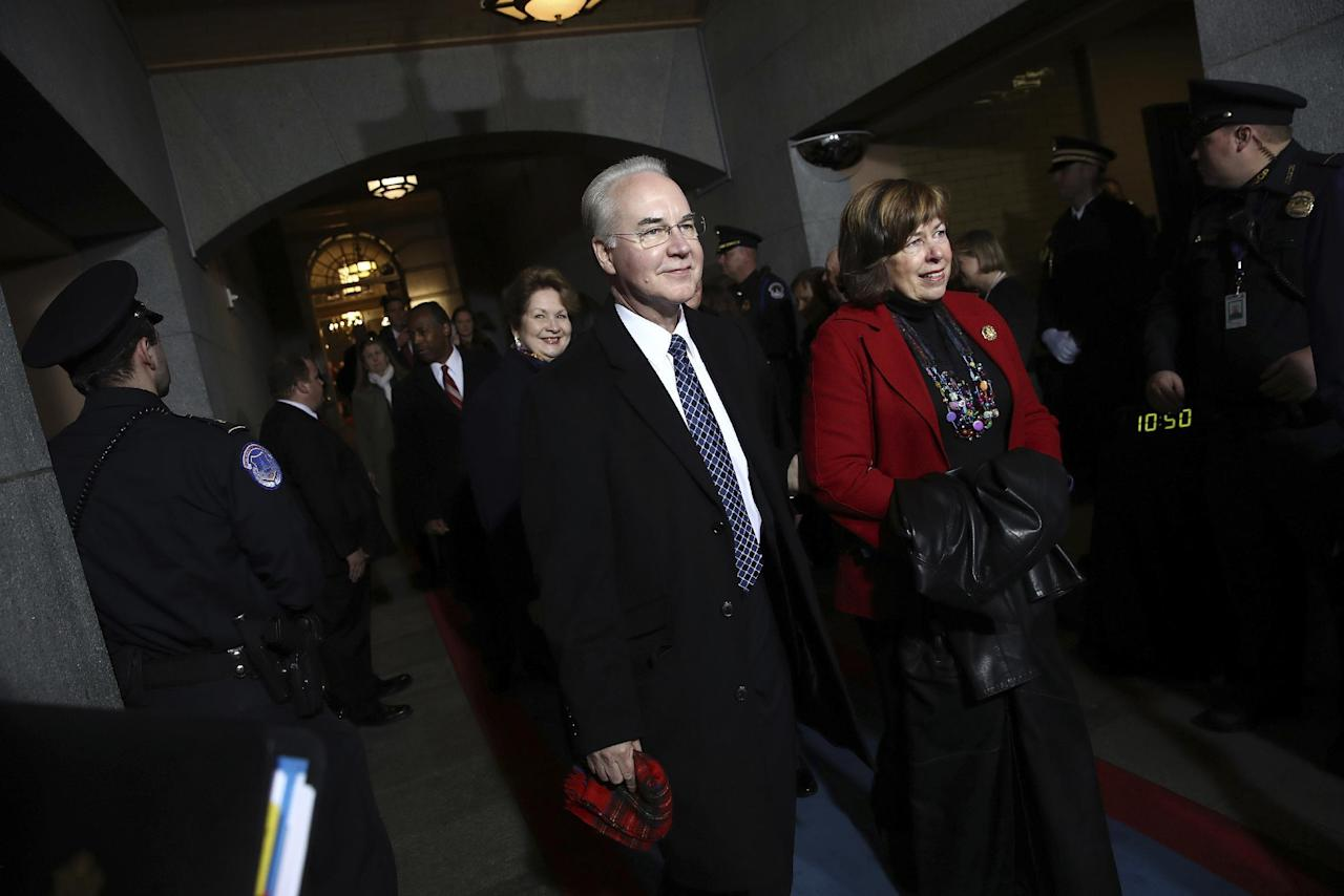 Health and Human Secretary-designate Rep. Tom Price, R-Ga., arrives on the West Front of the U.S. Capitol on Friday, Jan. 20, 2017, in Washington, for Donald Trump's inauguration ceremony as the 45th president of the United States. (Win McNamee/Pool Photo via AP)