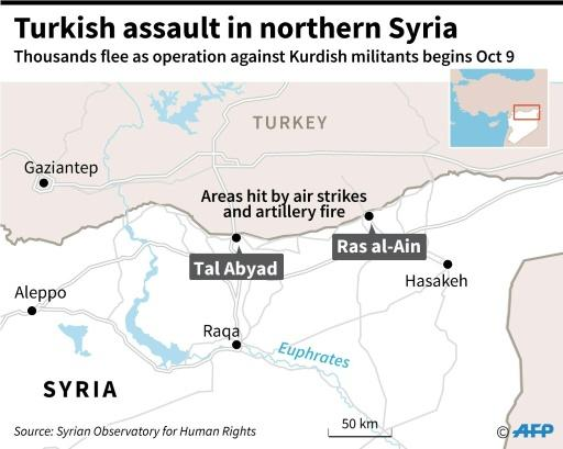 Map locating Ras al-Ain and Tal Abyad in northern Syria