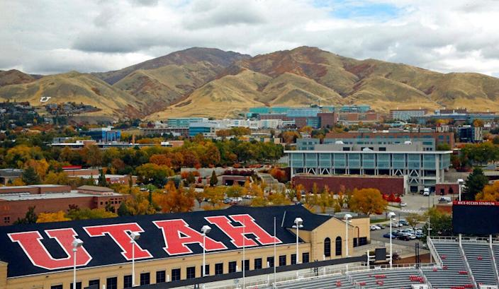 The University of Utah campus, as seen from Rice-Eccles Stadium in Salt Lake City.