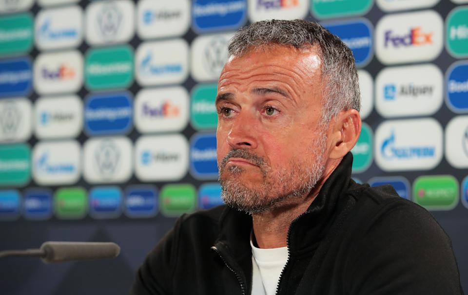 MILAN, ITALY - OCTOBER 06: Luis Enrique, Head coach of Spain speaks to the media during a press conference after the UEFA Nations League 2021 Semi-final match between Italy and Spain at San Siro Stadium on October 06, 2021 in Milan, Italy. (Photo by Emilio Andreoli - UEFA/UEFA via Getty Images)