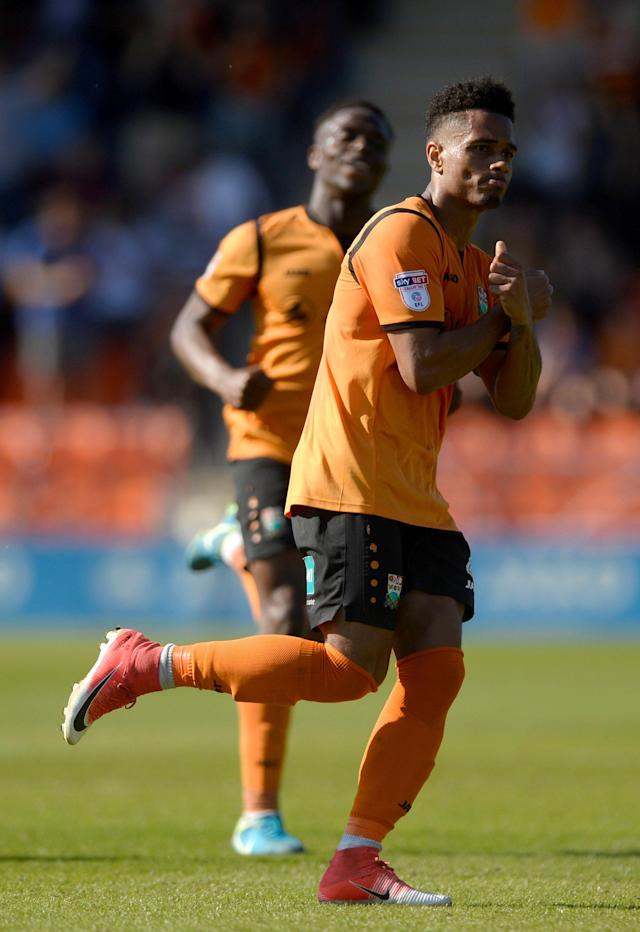 "Soccer Football - League Two - Barnet vs Chesterfield - The Hive, London, Britain - May 5, 2018 Barnet's Richard Brindley celebrates scoring their second goal Action Images/Adam Holt EDITORIAL USE ONLY. No use with unauthorized audio, video, data, fixture lists, club/league logos or ""live"" services. Online in-match use limited to 75 images, no video emulation. No use in betting, games or single club/league/player publications. Please contact your account representative for further details."