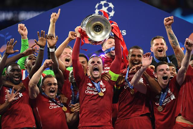 Liverpool lift the UEFA Champions League. (Photo by Matthias Hangst/Getty Images)