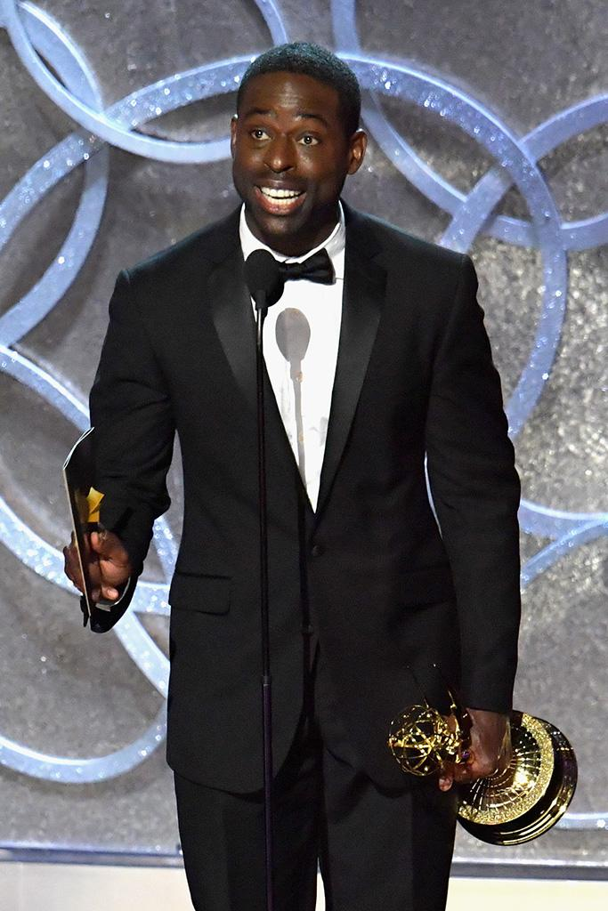 Brown accepts his Emmy for 'The People v. O.J. Simpson: American Crime Story' (Photo: Lester Cohen/WireImage)