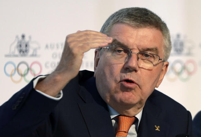 International Olympic Committee President Thomas Bach speaks at the Australian Olympic Committee annual general meeting in Sydney, Australia, Saturday, May 4, 2019. (AP Photo/Rick Rycroft)