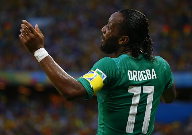 Ivory Coast's Drogba reacts during their 2014 World Cup Group C soccer match against Greece at the Castelao arena in Fortaleza