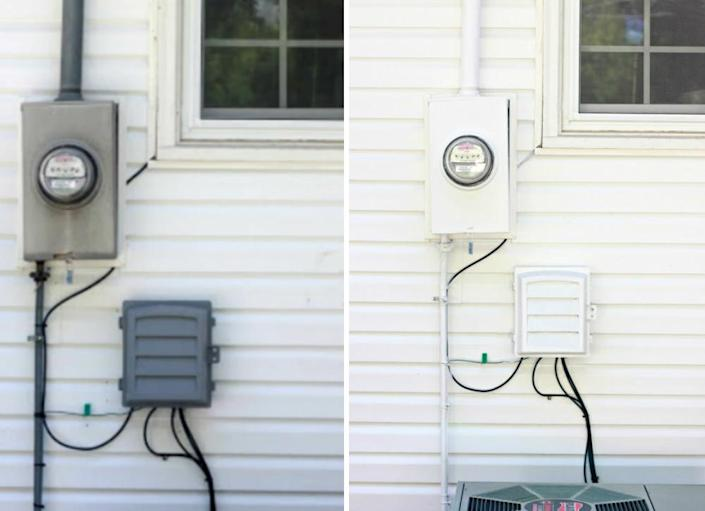 """<body><p>Practical components like utility boxes and gas meters are a necessary evil, but do they have to be so ugly? Actually... no. Camouflage your service points by <a href="""" http://www.bobvila.com/how-to-paint-wrought-iron/44363-how-to-paint-everything/slideshows#.VQmk22TF8bo?bv=yahoo"""" rel=""""nofollow noopener"""" target=""""_blank"""" data-ylk=""""slk:painting"""" class=""""link rapid-noclick-resp"""">painting</a> them with exterior paint in a shade that matches your siding. They may not completely disappear, but they will definitely blend in, improving the overall look of your home.</p></body>"""