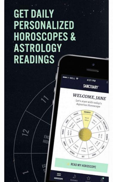 """PHOTO: Sanctuary says its the """"first"""" app to offer live and on-demand personal readings with professional astrologers. (Sanctuary)"""