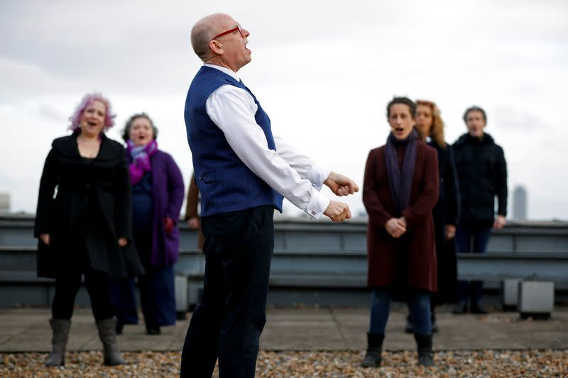 Choir of London's Royal Opera House perform on rooftop to celebrate Good Friday and the arrival of spring in London