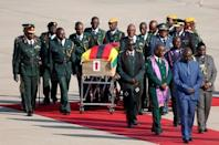 The body of former Zimbabwean President Robert Mugabe arrives back in the country after he died on Friday (September 6) in Singapore after a long illness