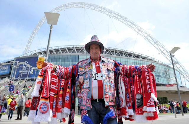 Bayern Munich fans arrive for the UEFA Champions League Final at Wembley Stadium, London.