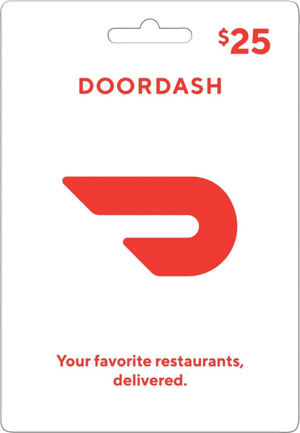 """<p><strong>DoorDash</strong></p><p>bestbuy.com</p><p><strong>$25.00</strong></p><p><a href=""""https://go.redirectingat.com?id=74968X1596630&url=https%3A%2F%2Fwww.bestbuy.com%2Fsite%2Fdoordash-25-gift-card%2F6370827.p%3FskuId%3D6370827&sref=https%3A%2F%2Fwww.delish.com%2Fkitchen-tools%2Fg4499%2Fbest-friend-gifts%2F"""" rel=""""nofollow noopener"""" target=""""_blank"""" data-ylk=""""slk:BUY NOW"""" class=""""link rapid-noclick-resp"""">BUY NOW</a></p><p>Give the gift of food delivery this holiday season with a Door Dash gift card! The gift cards can be ordered online and in-store and can be sent to the recipient in an instant.</p>"""