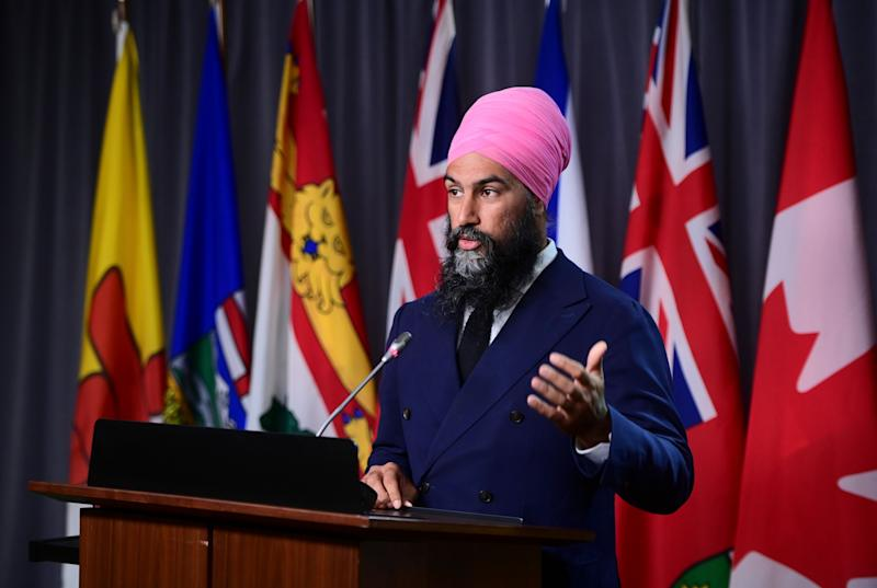 NDP Leader Jagmeet Singh holds a press conference on Parliament Hill in Ottawa on Sept. 22, 2020. (Photo: Sean Kilpatrick/CP)