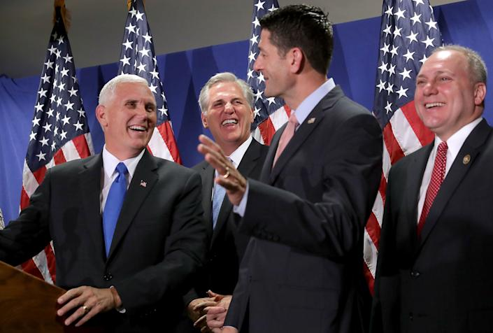 From left,U.S. Republican vice presidential candidate Mike Pence joins House Majority Leader Kevin McCarthy (R-Calif.), Speaker of the House Paul Ryan (R-Wis.) and House Majority Whip Steve Scalise (R-La.) for a news conference following a weekly policy meeting at the Republican headquarters on Capitol Hill on Sept.13, 2016, in Washington, D.C.