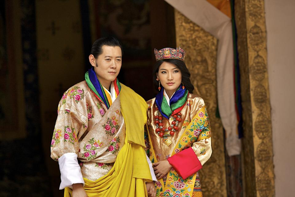 <p>The House of Wangchuck rules over Bhutan and the current King is Jigme Khesar Namgyel Wangchuck who wed his wife, Queen Jetsun Pema, back in 2011. The couple welcomed their first child together in February 2016. <em>[Photo: Getty]</em> </p>