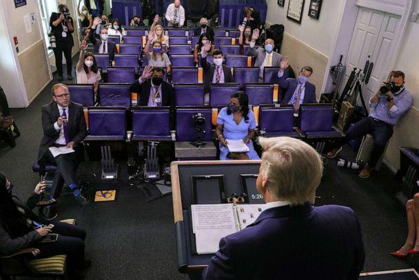 PHOTO: President Donald Trump listens to a question from ABC News reporter Jonathan Karl during a coronavirus disease (COVID-19) response news briefing at the White House, July 21, 2020. (Leah Millis/Reuters)