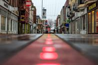 <p>General view of an empty Worthing town centre, Sussex, as the UK continues in a third lockdown due to the coronavirus pandemic. Picture date: Tuesday February 23, 2021.</p>
