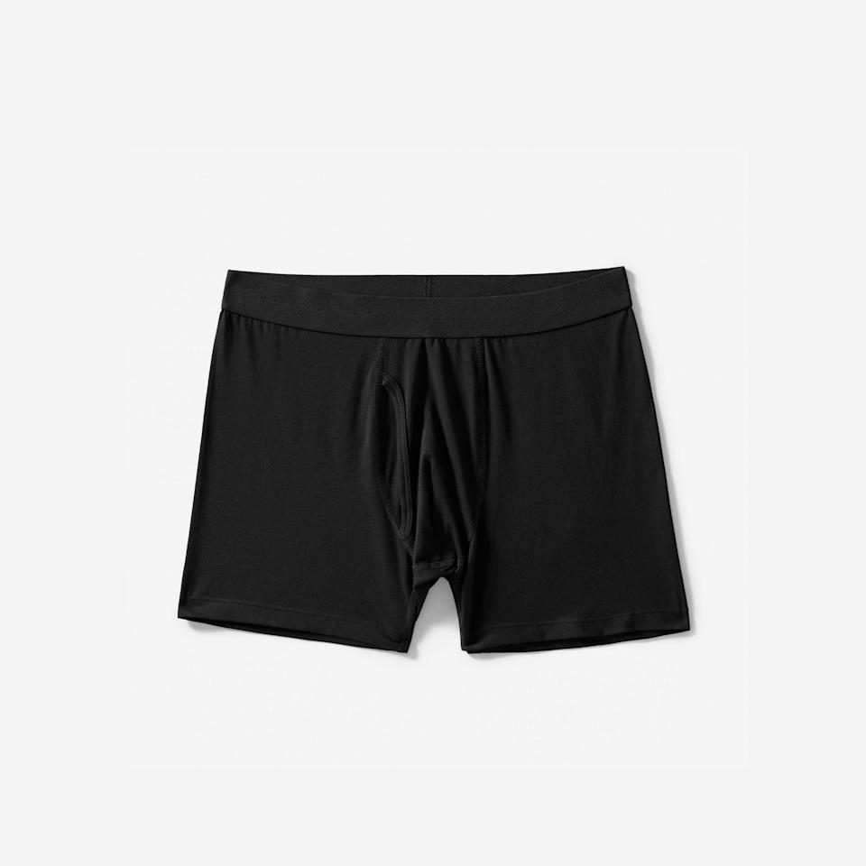 """<p><strong>everlane</strong></p><p>everlane.com</p><p><strong>$18.00</strong></p><p><a href=""""https://go.redirectingat.com?id=74968X1596630&url=https%3A%2F%2Fwww.everlane.com%2Fproducts%2Fmens-boxer-brief-black&sref=https%3A%2F%2Fwww.menshealth.com%2Fstyle%2Fg19546347%2Fthe-best-mens-underwear%2F"""" rel=""""nofollow noopener"""" target=""""_blank"""" data-ylk=""""slk:BUY IT HERE"""" class=""""link rapid-noclick-resp"""">BUY IT HERE</a></p><p>You know a company really stand by their underwear offerings when they offer a 365-day guarantee. Everlane's Supima cotton boxer brief is both durable and incredibly soft, meaning this purchase will save you from having to even think about underwear shopping for a long, long time—miracles do happen after all. </p>"""