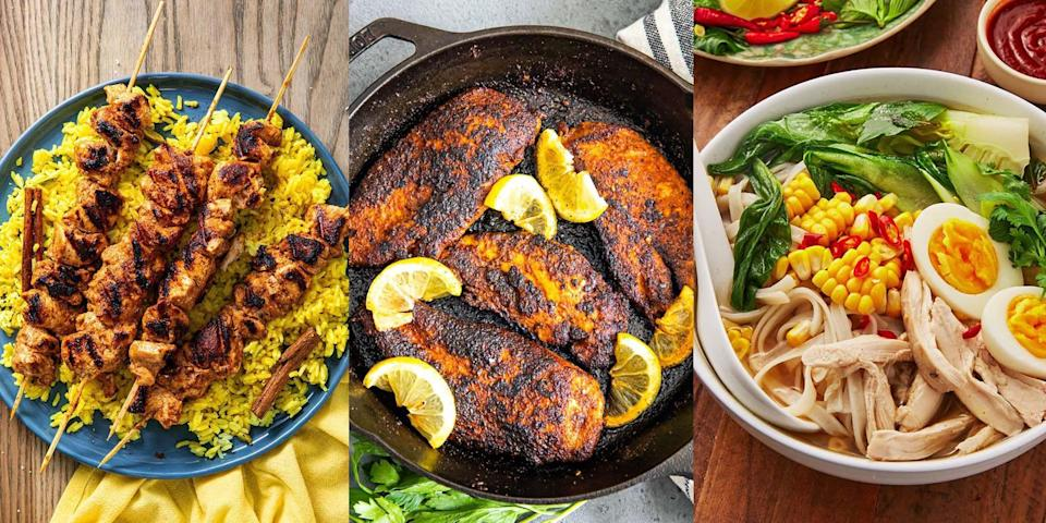 """<p><a href=""""https://www.delish.com/uk/cooking/recipes/g33530905/chicken-weeknight-dinners/"""" rel=""""nofollow noopener"""" target=""""_blank"""" data-ylk=""""slk:Chicken"""" class=""""link rapid-noclick-resp"""">Chicken</a> is one of the best, healthy sources of lean protein. Not to mention, it's low in saturated fat! Which makes it the ultimate base for any healthy dinner. But, if you find yourself stuck with ideas on how to cook it, then we're here to help. With everything from <a href=""""https://www.delish.com/uk/cooking/recipes/a35027985/blackened-chicken-recipe/"""" rel=""""nofollow noopener"""" target=""""_blank"""" data-ylk=""""slk:Blackened Chicken"""" class=""""link rapid-noclick-resp"""">Blackened Chicken</a> to <a href=""""https://www.delish.com/uk/cooking/recipes/a31011824/thai-green-curry/"""" rel=""""nofollow noopener"""" target=""""_blank"""" data-ylk=""""slk:Thai Green Curry"""" class=""""link rapid-noclick-resp"""">Thai Green Curry</a>, <a href=""""https://www.delish.com/uk/cooking/recipes/a30438961/chicken-pasta-salad/"""" rel=""""nofollow noopener"""" target=""""_blank"""" data-ylk=""""slk:Chicken Pasta Salad"""" class=""""link rapid-noclick-resp"""">Chicken Pasta Salad</a> and <a href=""""https://www.delish.com/uk/cooking/recipes/a30607809/chicken-broth/"""" rel=""""nofollow noopener"""" target=""""_blank"""" data-ylk=""""slk:Chicken Broth with Noodles"""" class=""""link rapid-noclick-resp"""">Chicken Broth with Noodles</a>, there's SO many different ways for you too cook up a smashing (insanely tasty) low fat chicken <a href=""""https://www.delish.com/uk/easy-dinner-ideas/"""" rel=""""nofollow noopener"""" target=""""_blank"""" data-ylk=""""slk:dinner"""" class=""""link rapid-noclick-resp"""">dinner</a>. So, if you need some dinner inspiration, check out some of our all-time favourite low fat chicken recipes now. </p>"""