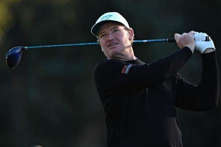 Ernie Els plays his shot from the second tee during the second round of the Genesis Open golf tournament at Riviera Country Club. Mandatory Credit: Orlando Ramirez-USA TODAY Sports