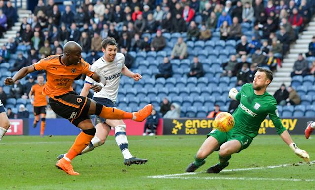 "Soccer Football - Championship - Preston North End vs Wolverhampton Wanderers - Deepdale, Preston, Britain - February 17, 2018 Preston's Declan Rudd makes a save from Wolverhampton Wanderers' Benik Afobe Action Images/Paul Burrows EDITORIAL USE ONLY. No use with unauthorized audio, video, data, fixture lists, club/league logos or ""live"" services. Online in-match use limited to 75 images, no video emulation. No use in betting, games or single club/league/player publications. Please contact your account representative for further details."