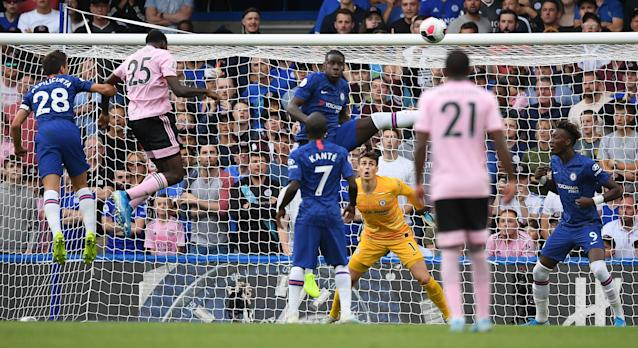 Wilfred Ndidi's brilliant header draw Leicester level (Photo credit should read DANIEL LEAL-OLIVAS/AFP/Getty Images)