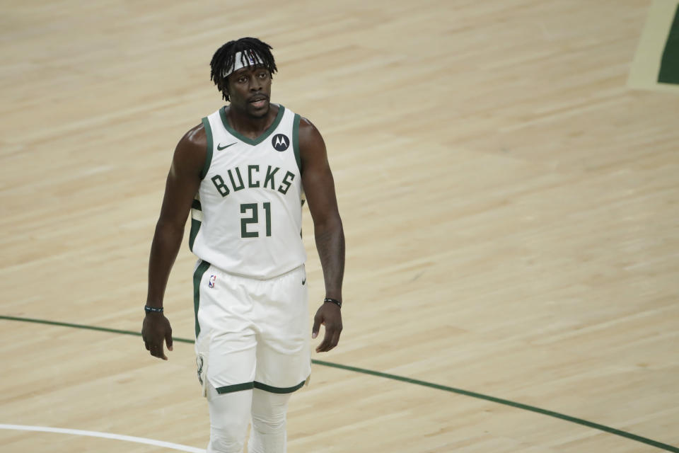 Jrue Holiday during the first half of Game 4 of basketball's NBA Finals. - Credit: Aaron Gash/AP
