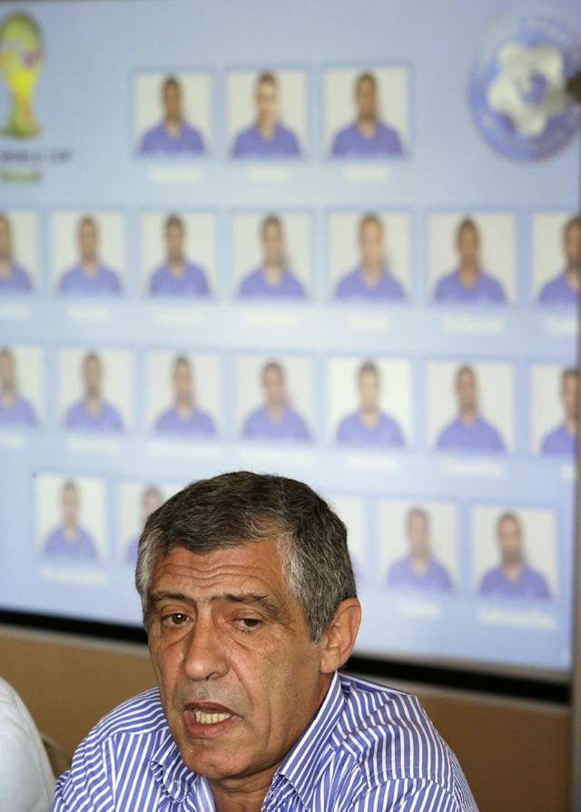 Greece's coach Fernando Santos of Portugal announces the national soccer team's squad in Athens on Monday, May 19, 2014. Greece will play against Ivory Coast, Japan and Colombia in a Group C of the World Cup in Brazil. (AP Photo/Thanassis Stavrakis)