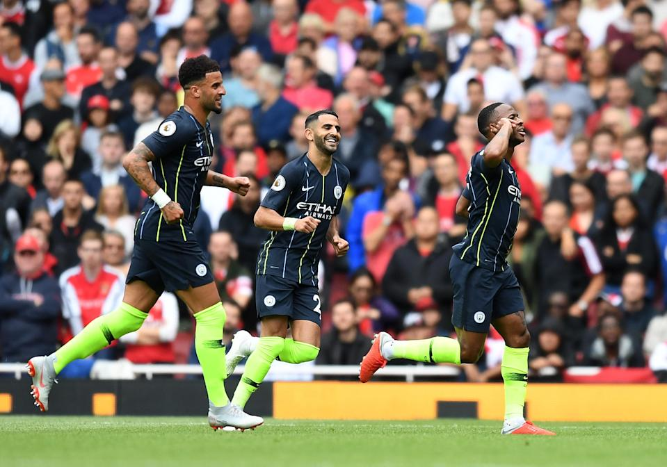 Raheem Sterling celebrates his opening goal for Manchester City against Arsenal on the first weekend of the 2018-19 Premier League season. (Getty)