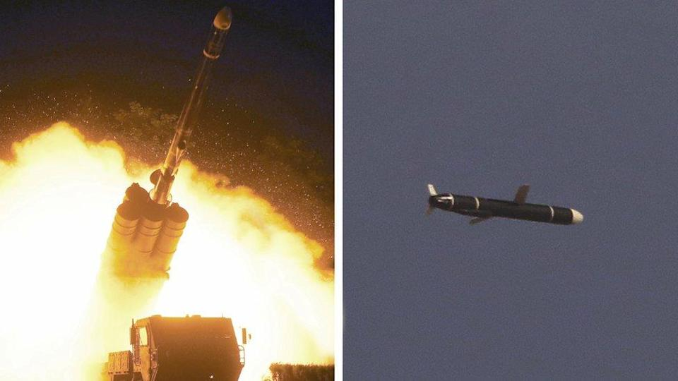 The Academy of National Defense Science conducts long-range cruise missile tests in North Korea, as pictured in this combination of undated photos supplied by North Korea's Korean Central News Agency (KCNA) on 13 September 2021