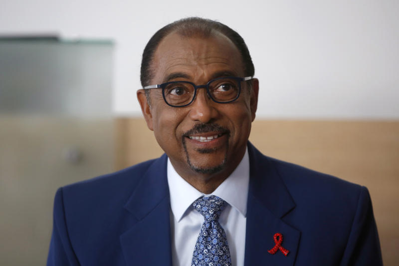 "FILE - This Wednesday, July 18, 2018 file photo shows UNAIDS chief Michel Sidibe in Paris, France. Amid an assessment of the agency's management that found a culture of impunity and ""defective leadership,"" Sidibe announced he would step down in June 2019, six months before the scheduled end to his term. (AP Photo/Thibault Camus, file)"