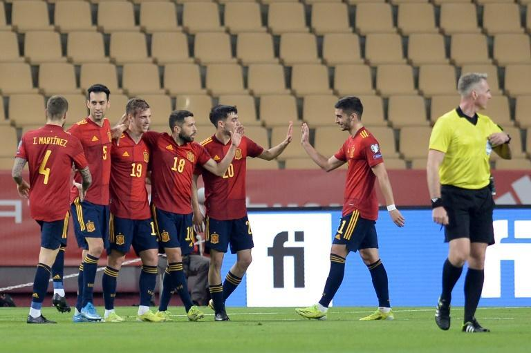 Dani Olmo (3L) scored for the second time in four days for Spain